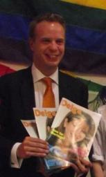 Stephen Gilbert MP shows off the new Delga magazine