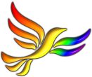 Small (110px high) LGBT Rainbow Bird of Liberty