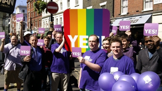 Campaigners from all parties press for AV at Purple Pride in Soho