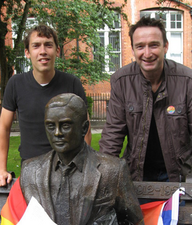 John Leech and Adrian Trett campaigning for a Turing pardon