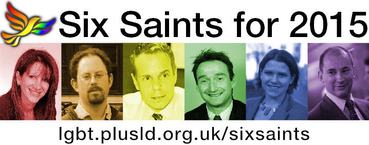 LGBT+ Lib Dems Six Saints for 2015 Header Image