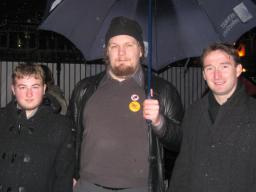 Manchester Withington MP John Leech (right), with Manchester LGBT Lib Dem activists Dave Page (center) and Benji Starr (left) at Transgender Day of Remembrance 2009 in Sackville Pack, Manchester
