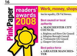 Pink Paper readers awards 2007 - Islington voted third best council
