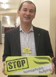 Stephen Williams promoting the Stop Homophobic Bullying campaign