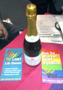 A bottle of House of Commons champagne, at the LGBT Lib Dems / Delga stall, Federal Conference Sept 2010