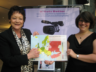 Sarah Ludford MEP (left) with Evelyne Paradis, Europe Executive Director of the International Lesbian, Gay, Bisexual, Trans and Intersex Association (ILGA)