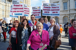 Lynne Featherstone, Sal Brinton, Liz Barker and Judith Jolly with Adrian Trett and Ed Fordham of LGBT+ Lib Dems and Linda Jack