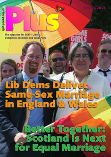 Cover of Autumn 2013 Plus, the LGBT+ Lib Dems magazine