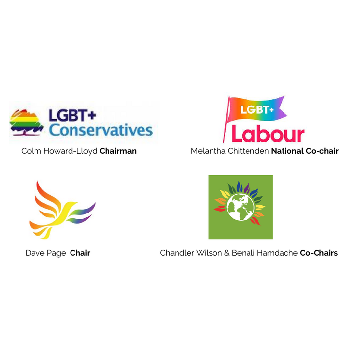 Signatories of the chairs of Lib Dem, Labour, Green and Tory LGBT+ groups to THT letter, March 2020