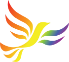 Rainbow shaded Liberal Democrat Bird of Liberty Logo
